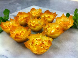 Pumpkin and feta filo tarts