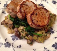Pork Medallions on Creamed Leeks & Mushrooms with Wilted Spinach