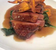 Duck Breast with Sweet Potato Mash, Spinach & Sweet Potato Crisps