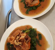 Pork belly with wilted greens, sweet potato mash with a white wine & thyme jus