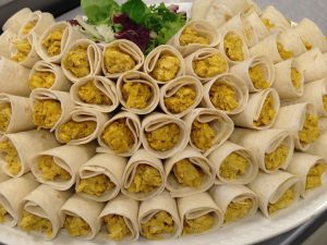 Home-made Coronation Chicken Cone Wraps