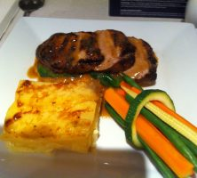 Oriental Pork with sweet potato mash and spinach