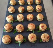 Mini Cheese Scones with Cheddar, Rocket and Mango Chutney